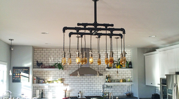 Custom Modern Vintage Cloth Cord Rustic Pipe Metal Chandelier Country Kitchen