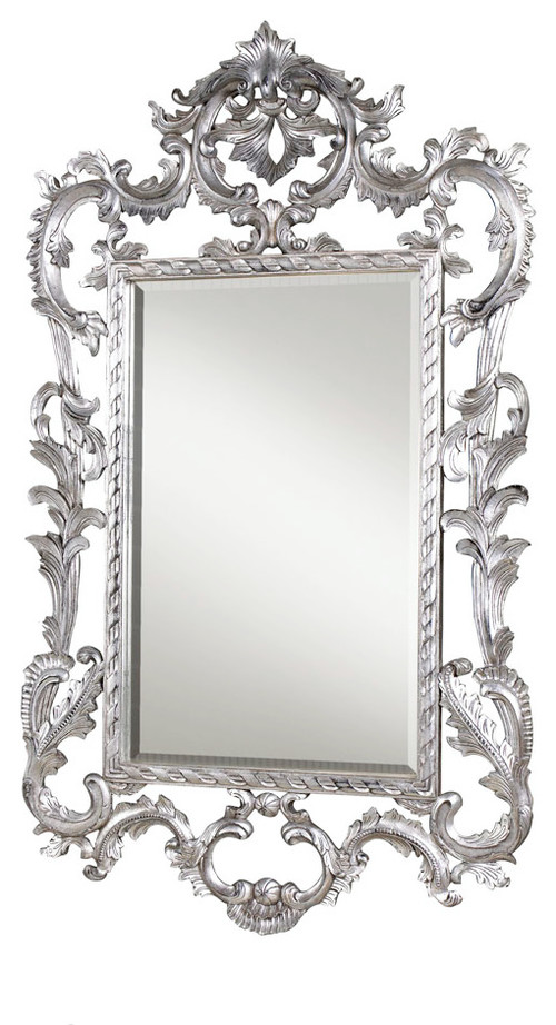 French Heritage Louis XV Mirror, Silver Leaf