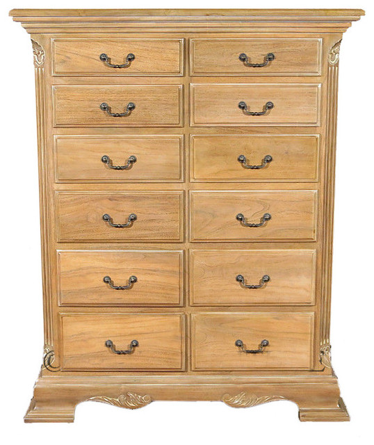 Solid Teak 12 Drawer Chest of Drawers Dresser  Traditional  Dressers  by MBW Furniture