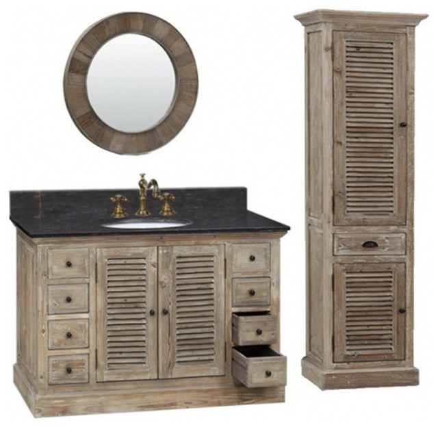 "36"" single sink bathroom vanity, natural oak - farmhouse"