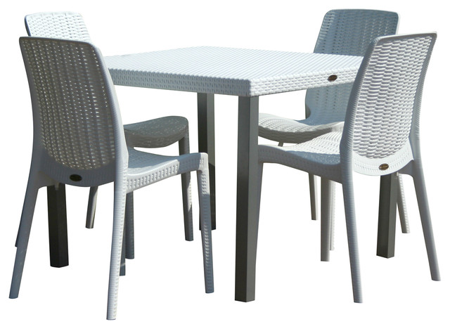 oslo 4 person table with rue chairs white
