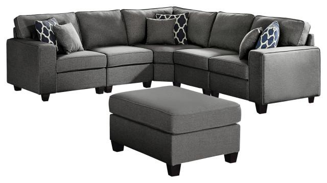 sonoma dark gray linen 6pc modular sectional sofa and ottoman