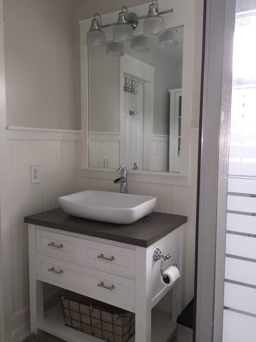 New very tiny coastalcottage bathroom on a small DIY