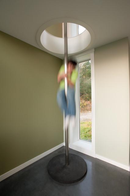 Fire Pole From First Floor To Second Floor Loft Modern