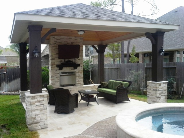 Freestanding patio cover w gas fireplace