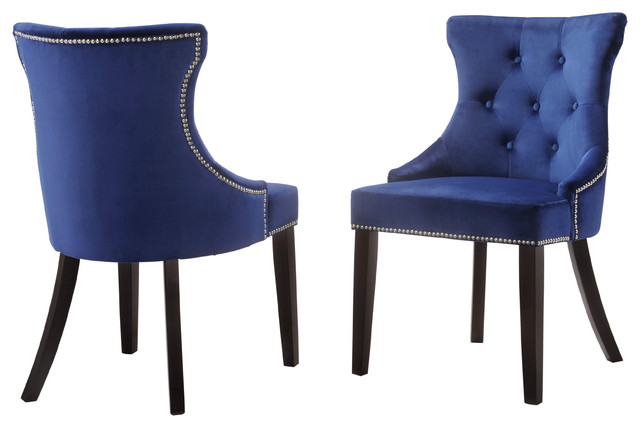velvet tufted chair leather rolling megan with nailhead trim transitional dining chairs by carolina classics