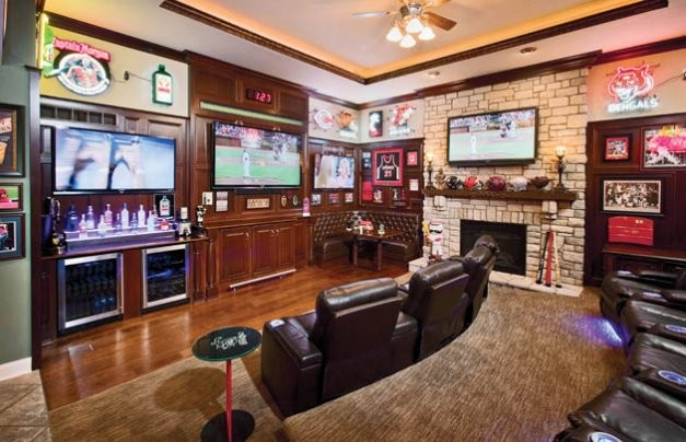 Sports Bar Scores Big  Traditional  Living Room  Cincinnati  by Housetrends Magazine
