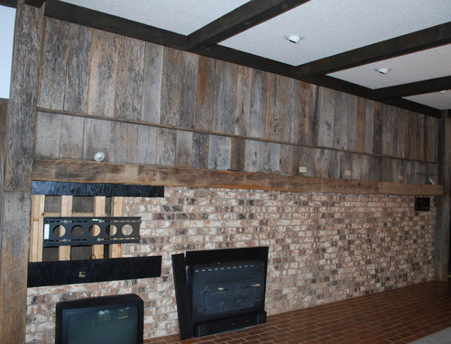 What to do with this Barn woodBrick wall