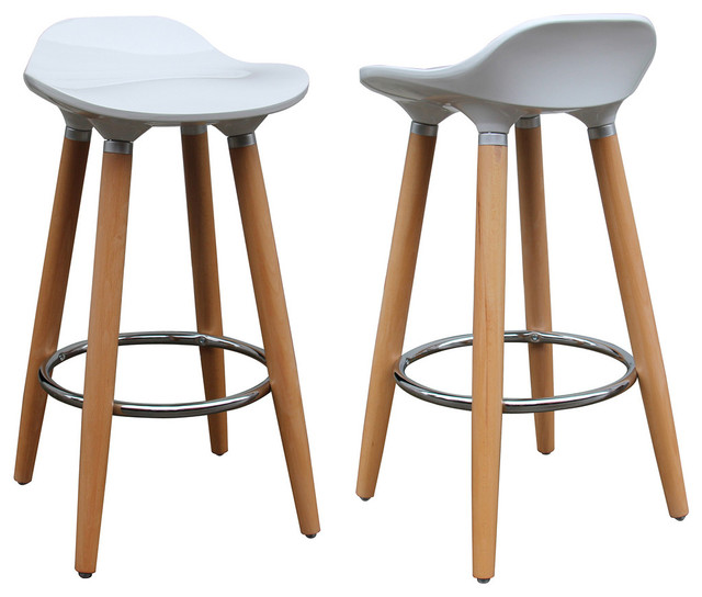 Plastic Counter Stools, Set Of 2, White Contemporary