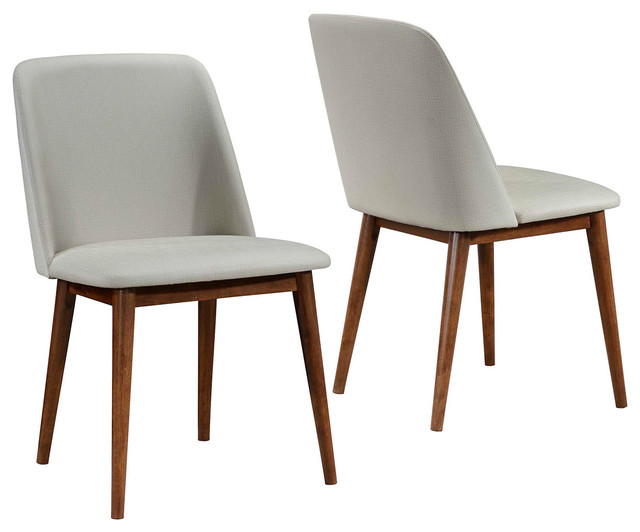 eiffel dining chair with beech legs ergonomic task set of 2 mid-century modern tan upholstered chairs dark walnut wood - midcentury ...