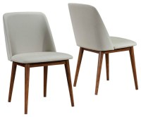 Set of 2 Mid-Century Modern Tan Upholstered Dining Chairs ...