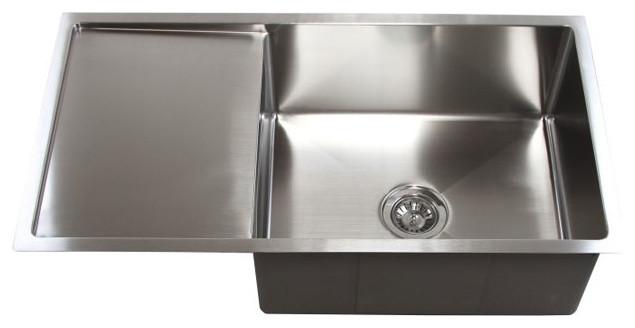 36 Inch Stainless Steel Undermount Single Bowl Kitchen Sink With Drain Board Modern Kitchen
