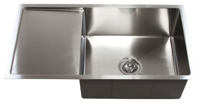 36 Stainless Steel Undermount Single Bowl Kitchen Sink With Drain Board Modern