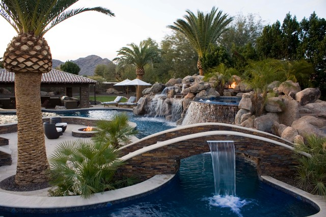 Tropical pool with fire features