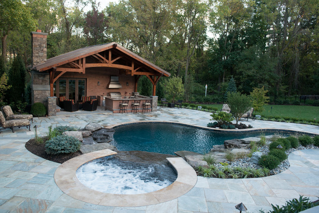 Inground Pool & Spa With Cabana Rustic Pool New York By