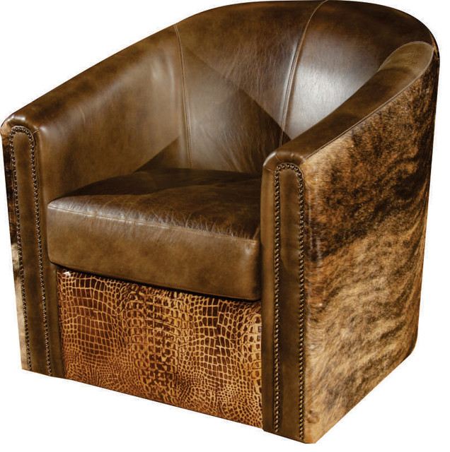 Rustic Swivel Tub Accent Chair  Transitional  Armchairs