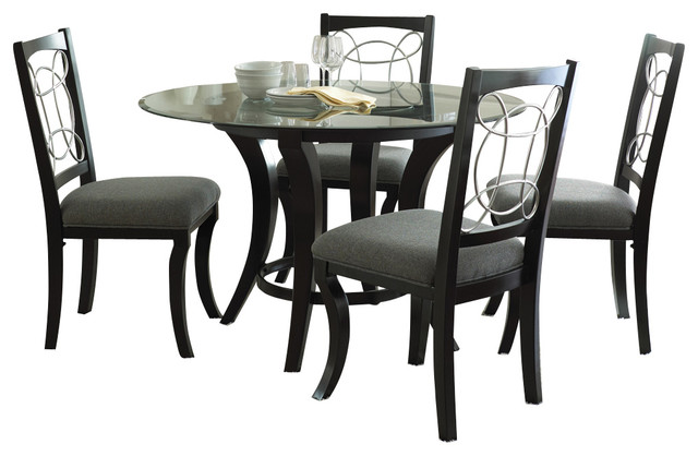 steve silver dining chairs desk attached to chair cayman 5 piece round room set with faux marble in black traditional sets by beyond stores