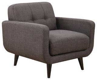 Upholstered Mid-Century Tufted Armchair, Charcoal