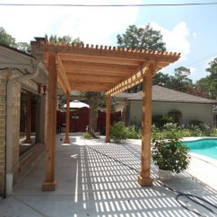 Area Rugs For Under Kitchen Tables Rail System Poolside Cedar Pergola On Concrete Slab - Rustic Patio ...