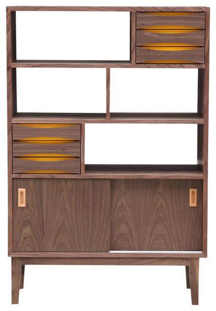 Vodder 4Tier Upright Cabinet Midcentury Modern Wood