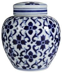 Blue and White Porcelain Jars With Lids, Set of 2 ...