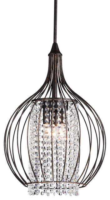 Bronze and Crystal Chandelier Pendant Light  Contemporary