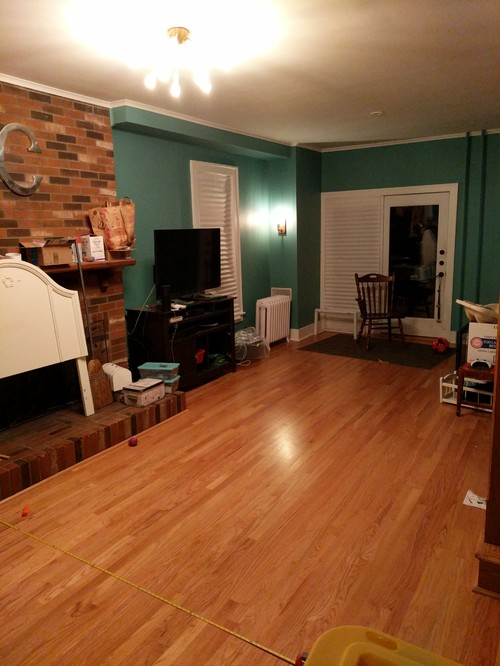 back of sofa facing fireplace leather clearance ontario long, very narrow living room with fireplace, staircase