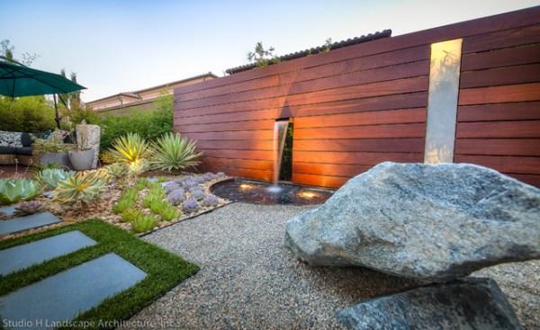 unique modern water feature & garden