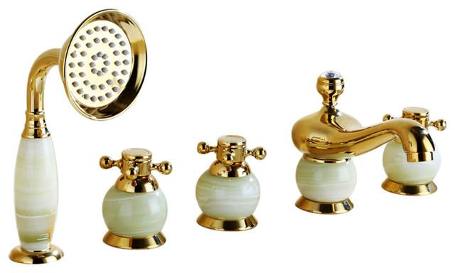 la rochelle 5 piece deck mount bathtub faucet