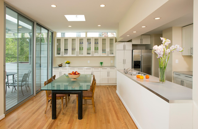 Open Galley Kitchen And Dining Area Contemporary
