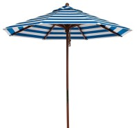 9' Blue and White Stripe Market Umbrella With Wood Pole ...