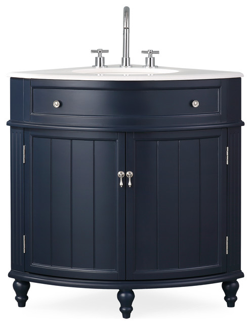 24 Thomasville Navy Blue Corner Bath Vanity Traditional Bathroom Vanities And Sink Consoles By Chans Furniture