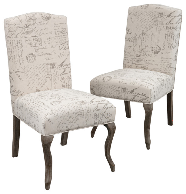 beige dining chairs desk chair big lots crown back french script fabric set of 2