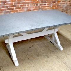 Zinc Kitchen Table Black Hutch Top Dining Trestle Base Home Design Jpg