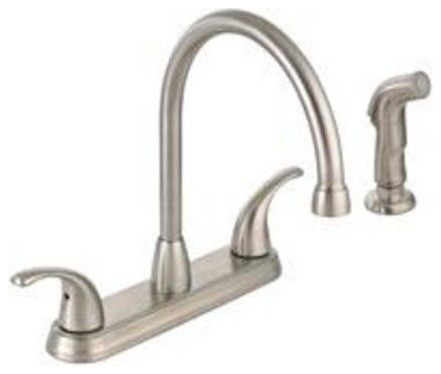 brushed nickel kitchen faucet with sprayer sliding glass cabinet doors mintcraft hi rise spray 2 handle