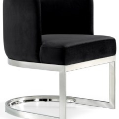 Black Velvet Chair Throne Gianna Dining Contemporary Chairs By Chrome Base