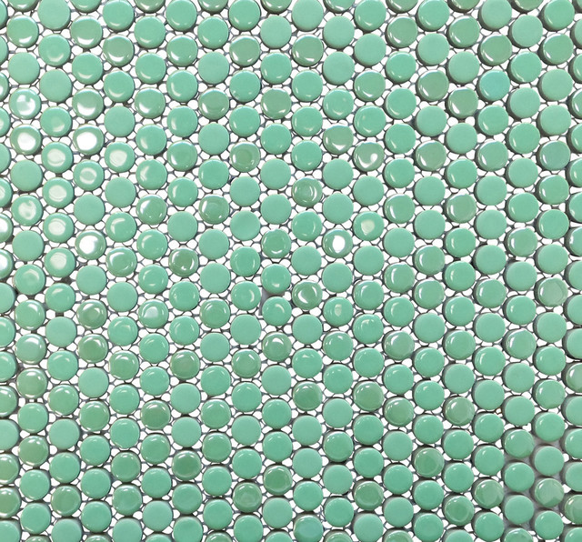penny round porcelain mosaic tile bright green 11 sheets