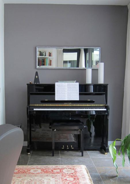 mirror above piano  Contemporary  Living Room