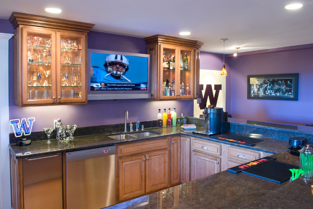 coffee themed kitchen rugs built in garbage cans home sports bar - contemporary basement seattle by ...