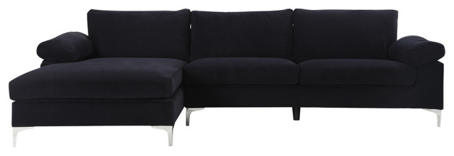 modern large velvet fabric sectional sofa l shape couch with extra wide chaise