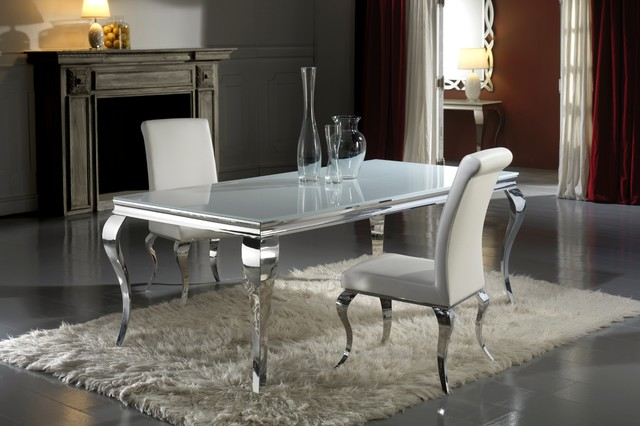 Modern Louis Inspired White Glass Dining Table And Chair