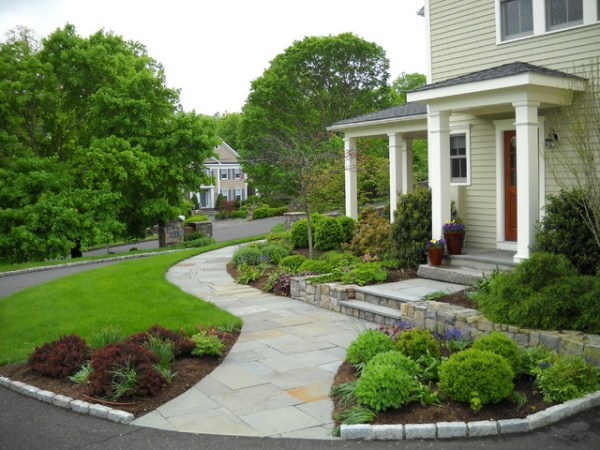 curved stone walkway leads front