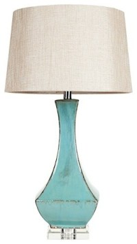 Turquoise ceramic and lucite table lamp - Midcentury ...