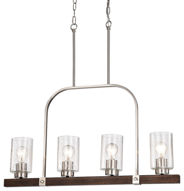 4 light brushed nickel and wood linear chandelier with seedy glass sconce
