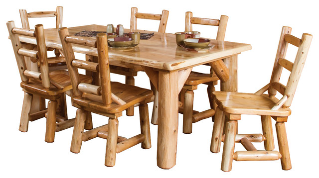 dining table set 6 chairs reclining wingback 7 piece rustic white cedar log family with sets by furniture barn usa