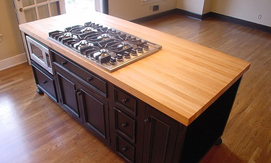 Maple Wood Island Countertop with Cooktop Cutoutjpg