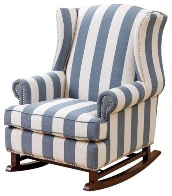 abbyson living thatcher fabric rocking chair in beige positions on a chelsie blue and ivory chairs by homesquare