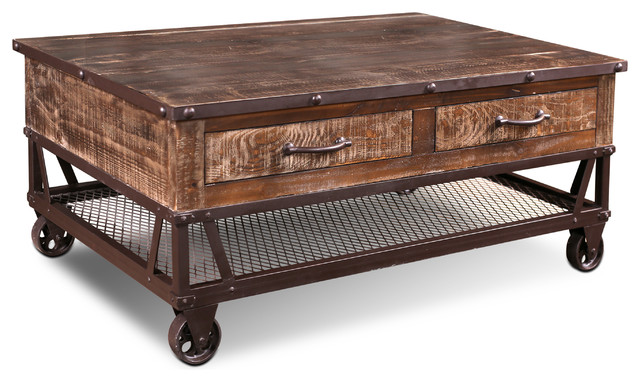 addison loft rustic solid wood coffee table on casters