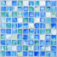 Mosaic-Blue Wall Mural - Contemporary - Wallpaper
