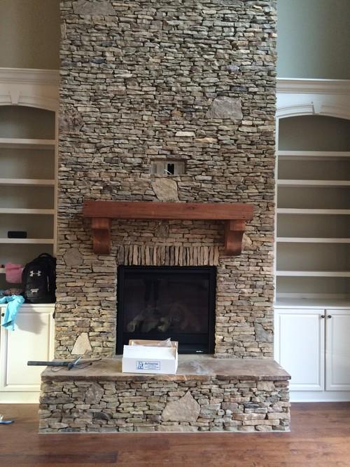 Help On Backsplash Given Adjacent Brick Wall Amp Stone Fireplace